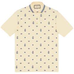 NEW Gucci White Medium M Embroidered Logo Cotton Polo Shirt