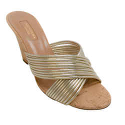 Aquazzura Gold Metallic Cork Wedge Sandals