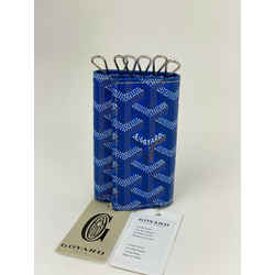 GOYARD Saint Michel Blue Tan White Coated Canvas 6 Key Holder Wallet B244 New