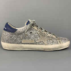 GOLDEN GOOSE 2019 Superstar Size 8 Silver & Blue Glitter Low Top Sneakers