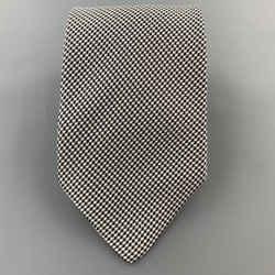 Brioni Black & White Micro Plaid Silk Tie
