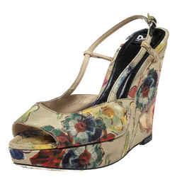 Dolce & Gabbana Multicolor Floral Printed Fabric Platform Wedge Sandals Size
