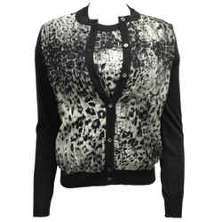 Salvatore Ferragamo Charcoal Grey Wool and Leopard Printed Silk Cardigan