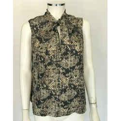 $268 Theory 100% Silk Snake Print Sleeveless V-neck Collar Tie Top Shirt Sz L