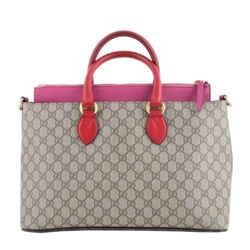 Gucci Gg Supreme Beige & Pink Tote Bag With Strap