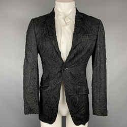 DOLCE & GABBANA Size 34 Black Guipure Viscose Blend Sport Coat