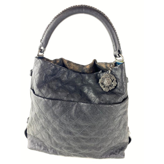 Chanel Bronze Quilted Caviar Hobo Black 860763