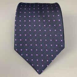 ERMENEGILDO ZEGNA Navy & Purple Dots Silk Tie