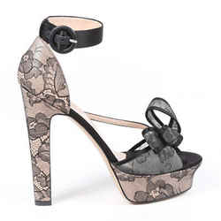 Valentino Pumps Black Floral Lace Open Toe Platform SZ 40