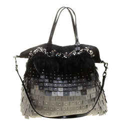 Valentino Tri Color Fabric Crystal Embellished and Feather Tote