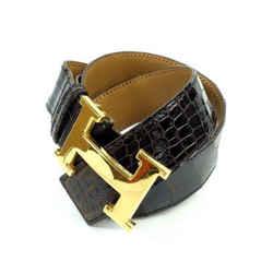 Hermes 32MM Crocodile Reversible H Logo Belt Kit Brown Gold239722