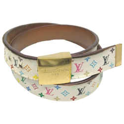 Louis Vuitton 80/32 White Monogram Multicolor Ceinture Carre Belt Rare Limited861455