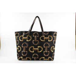 Gucci Black Monogram Horsebit Shopper Tote Bag 6GGS129