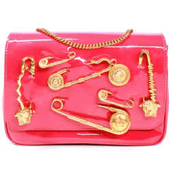 Versace - New Small Medusa Safety Pin Flap Bag Pink Red Patent Leather Crossbody