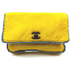 Chanel Yellow Shearling Mouton CC Turnlock Classic Flap Clutch Bag  863046