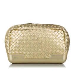 Vintage Authentic Bottega Veneta Gold Calf Leather Intrecciato Pouch Italy