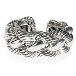 David Yurman Woven Cable Wide Cuff in  Sterling Silver