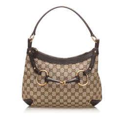Vintage Authentic Gucci Brown Beige Canvas Fabric GG Horsebit Shoulder Bag Italy