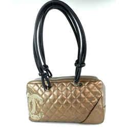 Chanel Metalic Bronze Quilted Cambon Boston Camera Satchel 5cc93