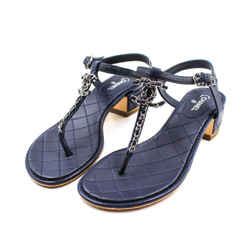 Chanel Size 39 Navy Quilted Leather Sandals
