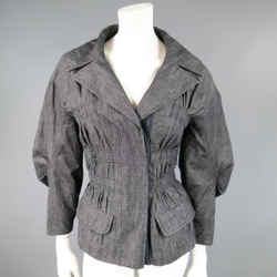 LOUIS VUITTON Size 6 Navy Cotton / Ramie Ruched Sleeve Jacket