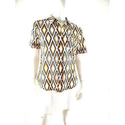 Tory Burch Ivory Ikat Cotton Short Sleeve Button Down Collared Top Shirt 10