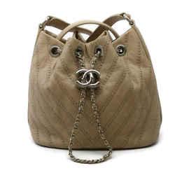Chanel Bucket Beige Calfskin Leather Shoulder Bag