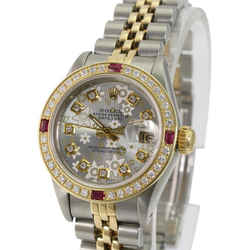 Rolex Lady Datejust Silver Flower Diamond Dial Diamond Ruby Bezel 26mm Watch