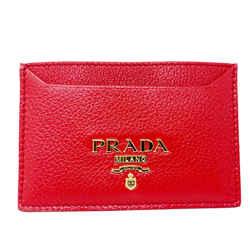 New Prada Red Vitello Leather Card Holder Wallet