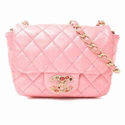Auth Chanel Chanel Lambskin Mini Matrasse Color Bijou Rhinestone Coco Mark Chain