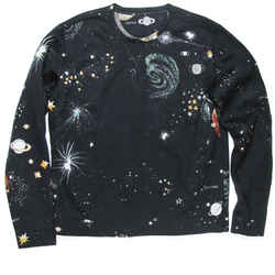 Valentino - Space Galaxy Sweater - Navy Blue Print - Mens - Small - S