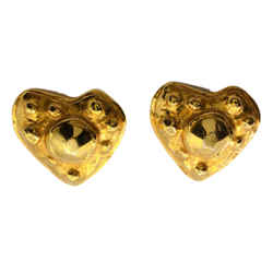 Christian Lacroix Gold Plated 1980s Vintage Hammered Metal Heart Shaped Earrings