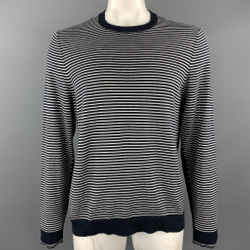 Rag & Bone Size Xl Navy & White Stripe Cotton Crew-neck Pullover