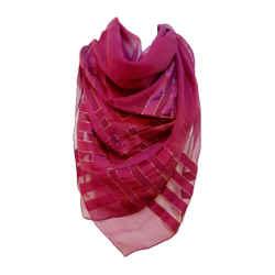 YVES SAINT LAURENT Purple Metallic Stripe Scarf