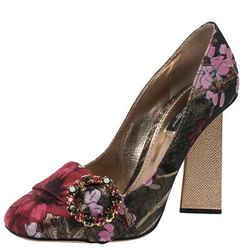Dolce & Gabbana Multicolor Floral Brocade Fabric Embellished Block Heel Pumps