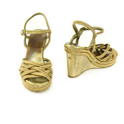 "CHANEL: Metallic Gold, Woven ""CC"" Logo Wedge Sandals/Heels Sz: 9.5M"