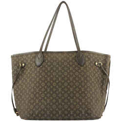 Louis Vuitton Brown Fusain Monogram Mini Lin Idylle Ebene Neverfull MM Tote 628lv616