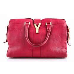 Saint Laurent Strap Ligne Y Satchel Bag Red One Size Authenticity Guaranteed