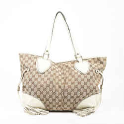 Gucci Tribeca Tote Bag Large Brown Gg Canvas White Leather