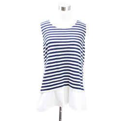 Akris Punto Navy Wool Stripes Top sz 6