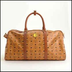 Rdc11248 Authentic Mcm Cognac Brown Visetos Boston Weekender Bag