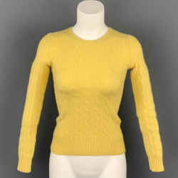 RALPH LAUREN Black Label Size S Yellow Cashmere Cable Knit Sweater