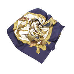 Vintage Authentic Hermes Gold Silk Fabric Grand Uniforme Scarf France