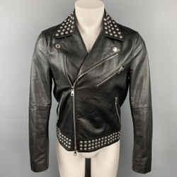 MICHAEL KORS Size S Black Studded Leather Biker Jacket