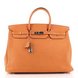 Birkin Handbag Orange H Togo with Palladium Hardware 40