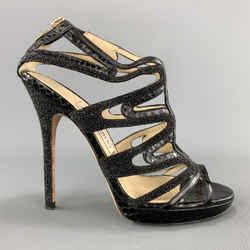 Jimmy Choo Size 7 Black Snake Skin & Glitter Leather Strappy Sandals