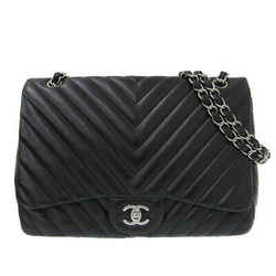 Auth Chanel Lambskin V Stitch W Chain Shoulder Bag Black 13 Series Leather