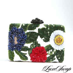 Oscar de la Renta Tropical Embroidered Clutch Bag
