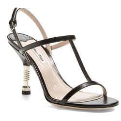Miu Miu Black Leather Screw Bolt Heel T Strappy Sandal Size 40 10 New $690