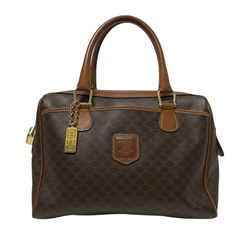 Vintage Authentic Celine Brown PVC Plastic Macadam Handbag France w/ Padlock